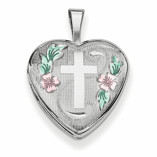 Silver Rhodium-plated 16mm D/c & Enameled Cross/flowers Heart Locket