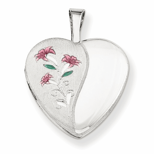 Silver Rhodium-plated 16mm Enameled Lily Heart Locket