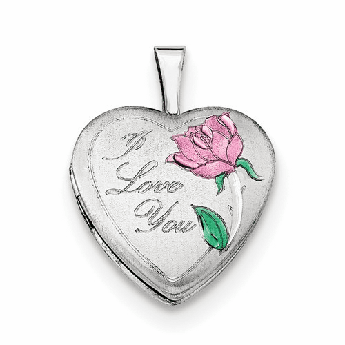 Silver Rhodium-plated 16mm Satin, Enameled, D/c I Love You Heart Charm