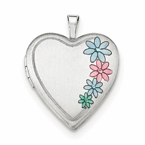 Silver Rhodium-plated 20mm Enameled Floral Heart Locket