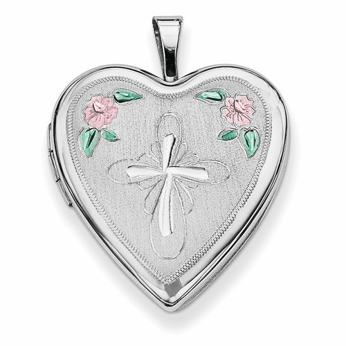 Silver Rhodium-plated 20mm Enameled Flower And Cross Heart Locket