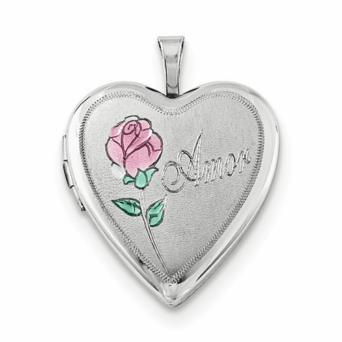 Silver Rhodium-plated 20mm Enameled Rose Amor Heart Locket