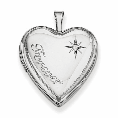 Silver Rhodium-plated 20mm Forever With Diamond Star Heart Locket