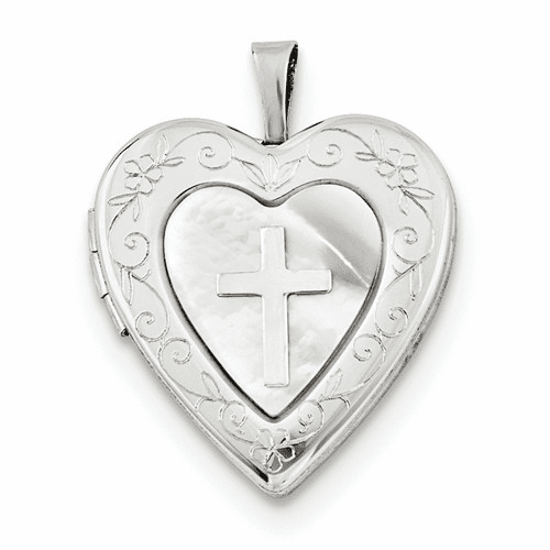 Silver Rhodium-plated 20mm Mother Of Pearl Cross Heart Locket