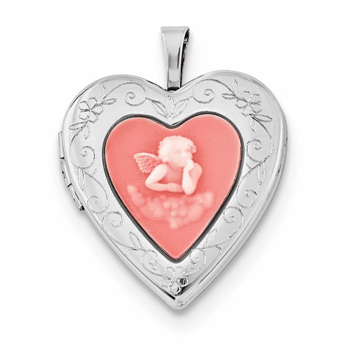 Silver Rhodium-plated 20mm Pink Agate Angel Cameo Locket