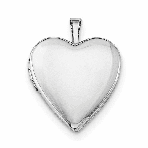 Silver Rhodium-plated 20mm Polished Front/satin Back Heart Locket