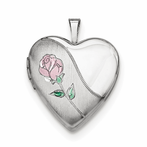 Silver Rhodium-plated 20mm Satin, Enameled, D/c Floral Heart Locket