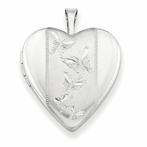 Silver Rhodium-plated 20mm With Butterflies Heart Locket