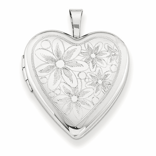 Silver Rhodium-plated 20mm With Daisies Heart Locket