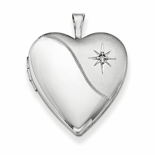 Silver Rhodium-plated 20mm With Dia. Star Satin/polished Heart Locket