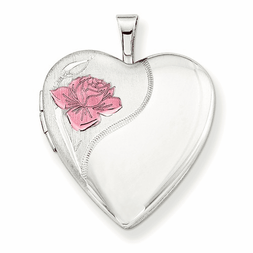 Silver Rhodium-plated 20mm With Enameled Rose Heart Locket