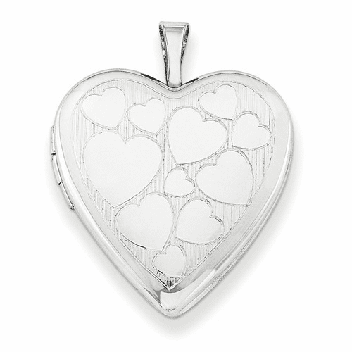 Silver Rhodium-plated 20mm With Floating Hearts Heart Locket