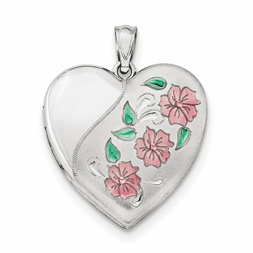 Silver Rhodium-plated 24mm Enameled, D/c Floral Heart Locket