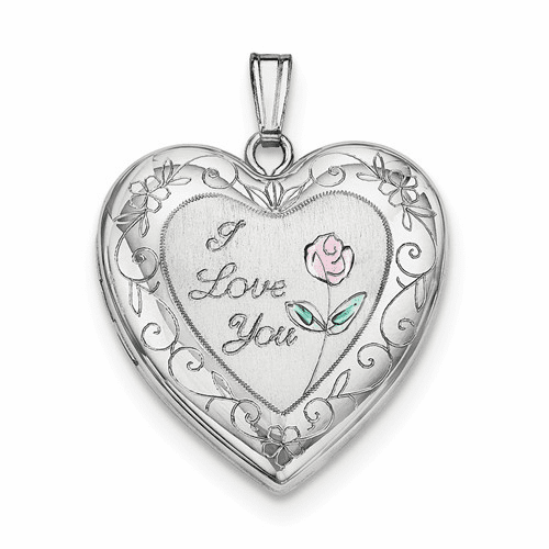 Silver Rhodium-plated 24mm Enameled Rose With Border Heart Locket