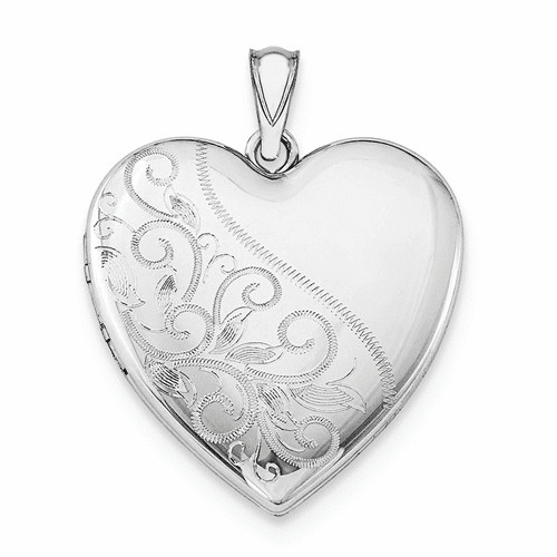 Silver Rhodium-plated 24mm Scrolled Heart Family Locket