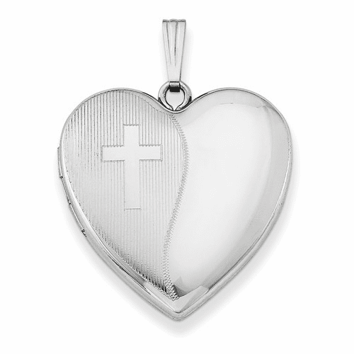 Silver Rhodium-plated 24mm With Cross Design Heart Locket