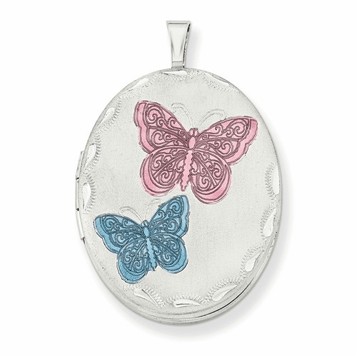 Silver Rhodium-plated 26mm Enameled Butterfly Oval Locket