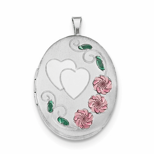 Silver Rhodium-plated 26mm Enameled, D/c Floral & Heart Oval Locket