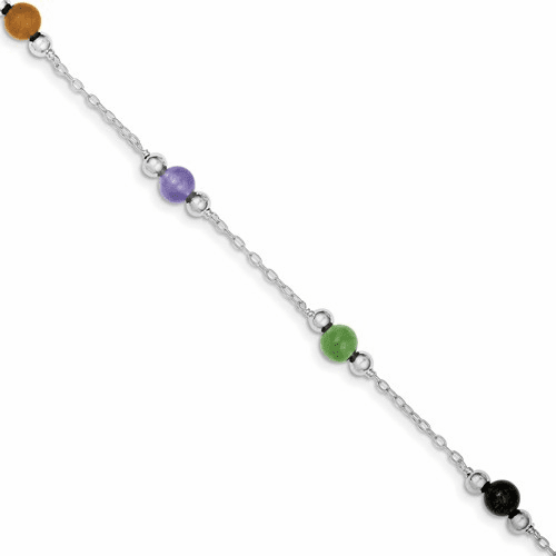 Silver Rhodium-plated 9inch Polished Multi-color Jade Anklet Qg1233-9