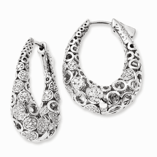 Silver Rhodium-plated Accent Pave Cz Oval Hoop Earrings