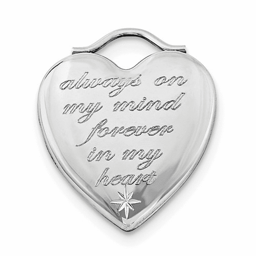 Silver Rhodium-plated Always On My Mind Forever In My Heart Locket