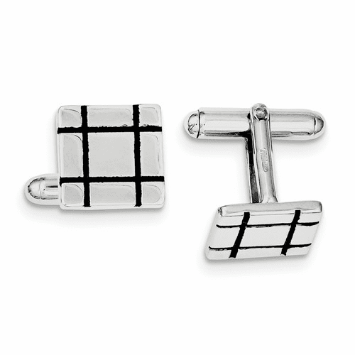 Silver Rhodium-plated And Black Enamel Groove Square Cuff Links