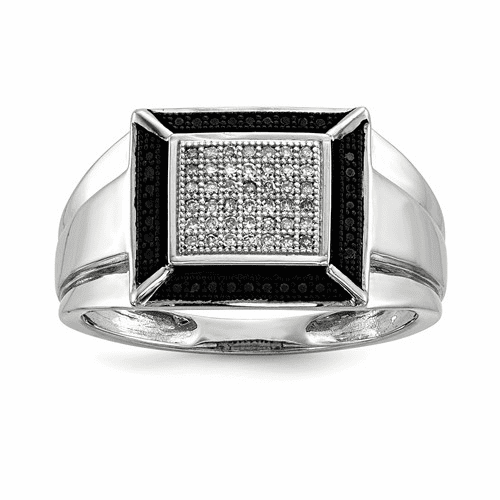 Silver Rhodium Plated Black And White Diamond Men's Ring