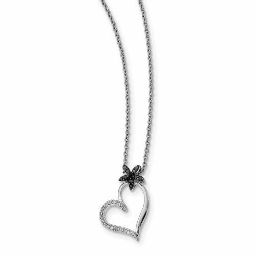 Silver Rhodium Plated Black & White Diamond Heart Pendant