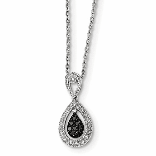 Silver Rhodium Plated Black/white Diamond Teardrop Pendant