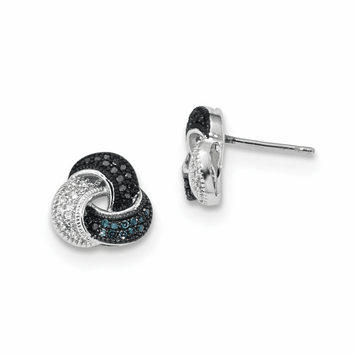 Silver Rhodium Plated Blue/black/white Diamond Earrings
