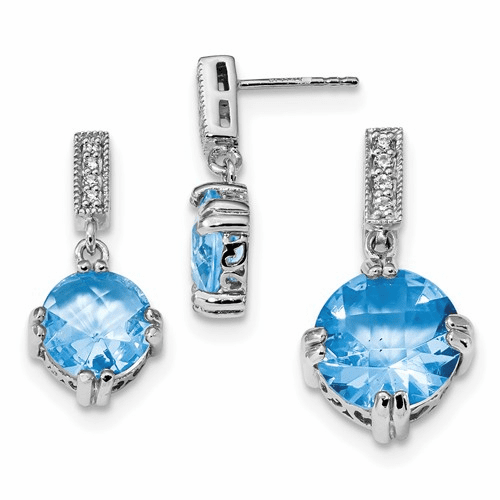 Silver Rhodium-plated Blue & Clear Cz Pendant