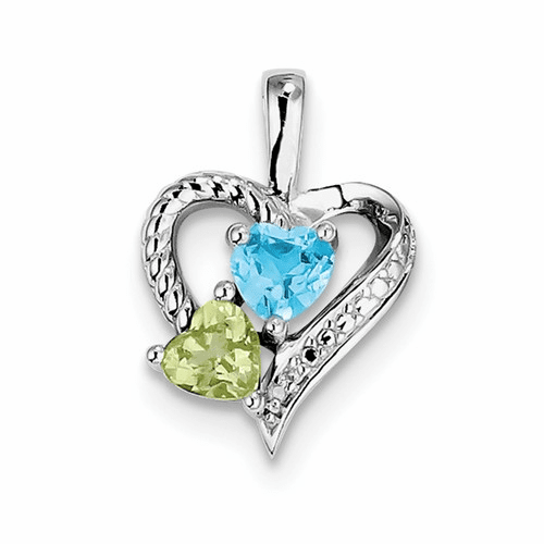 Silver Rhodium-plated Blue Topaz Peridot Diamond Pendant