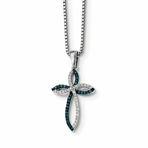 Silver Rhodium Plated Blue & White Diamond Cross Pendant