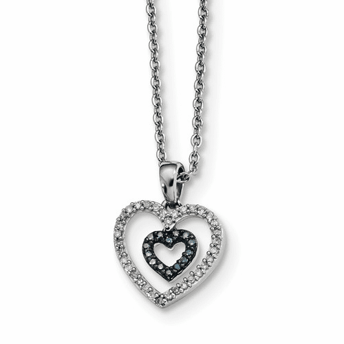 Silver Rhodium Plated Blue & White Diamond Heart Pendant