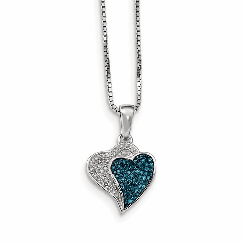 Silver Rhodium Plated Blue/white Diamond Hearts Pendant