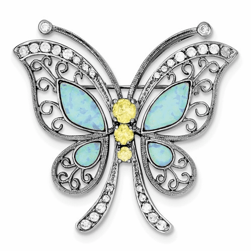 Silver Rhodium-plated Created Opal With Yellow And Clear Cz Butter