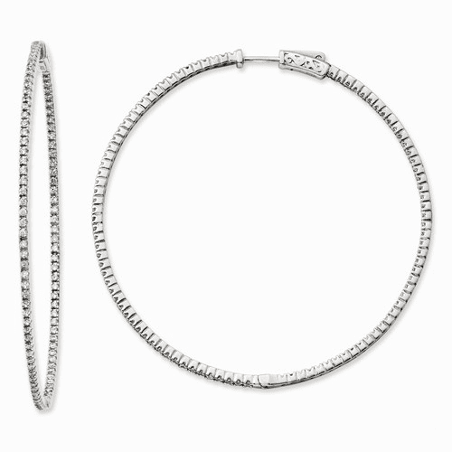 Silver Rhodium-plated Cz 194 Stones In & Out Hoop Earrings