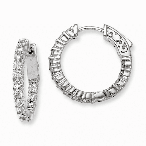 Silver Rhodium-plated Cz 30 Stone In And Out Hoop Earrings QE8004