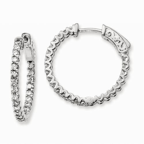 Silver Rhodium-plated Cz 48 Stone In And Out Hoop Earrings