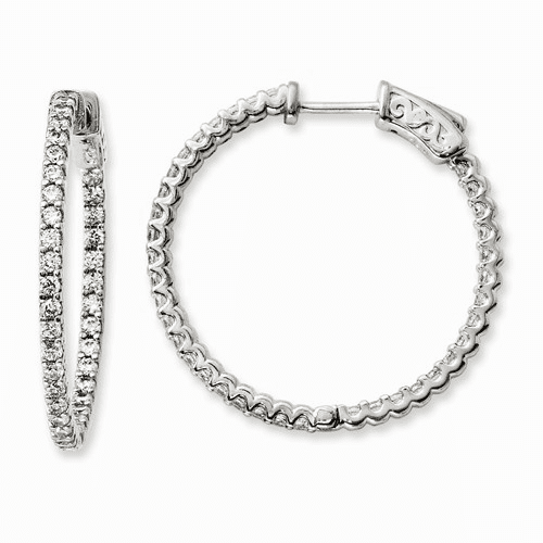 Silver Rhodium-plated Cz 74 Stone In And Out Hoop Earrings