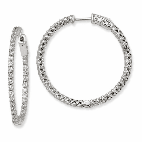Silver Rhodium-plated Cz 78 Stones In And Out Hinged Hoop Earrings