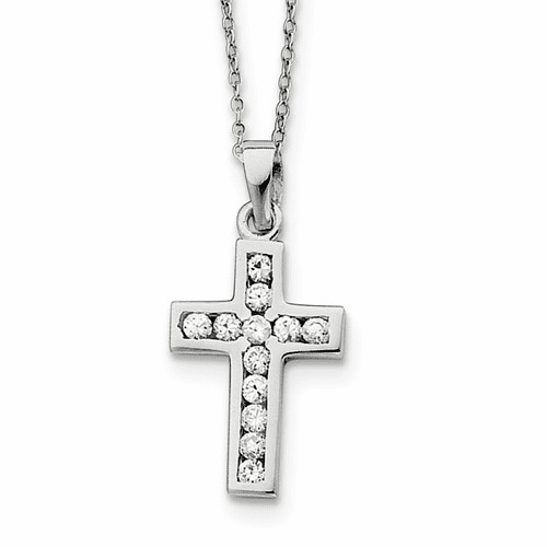 Silver Rhodium-plated Cz Cross On 16 Box Chain Necklace