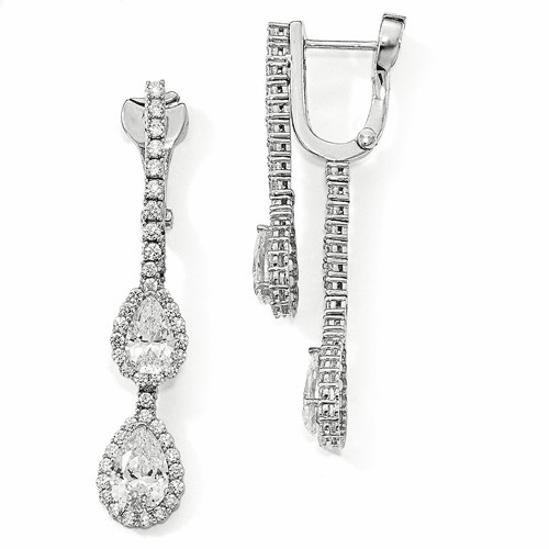 Silver Rhodium-plated Cz Dangle Safety Hinged Earrings