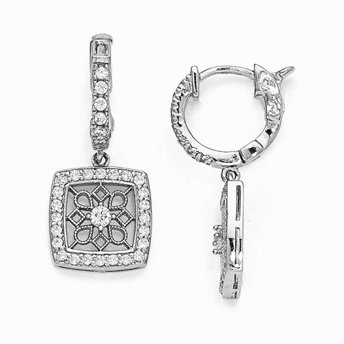 Silver Rhodium Plated Cz Hinged Hoop Dangle Square Snowflake Earring