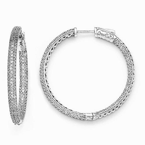 Silver Rhodium-plated Cz In And Out Hinged Hoop Earrings