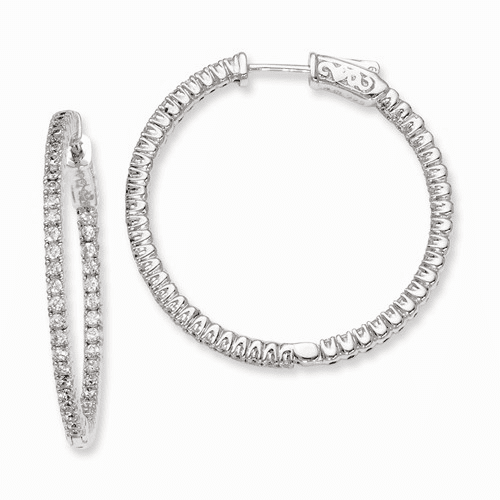 Silver Rhodium-plated Cz In And Out Hinged Hoop Earrings QE7943