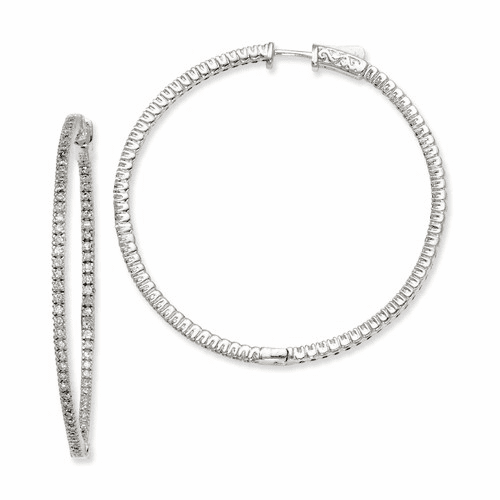 Silver Rhodium-plated Cz In And Out Hinged Hoop Earrings QE7944