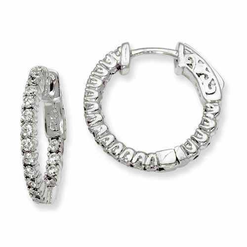 Silver Rhodium-plated Cz In And Out Hinged Hoop Earrings QE7945