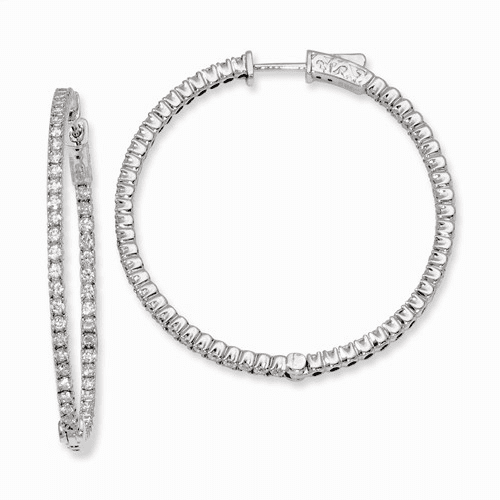 Silver Rhodium-plated Cz In And Out Hinged Hoop Earrings QE7948