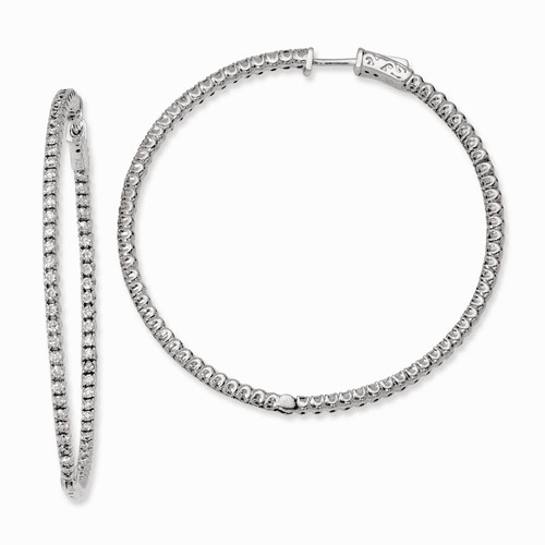 Silver Rhodium-plated Cz In And Out Hinged Hoop Earrings QE7949